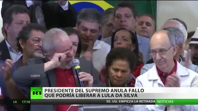 Suspenden en Brasil un fallo que posibilitaba la excarcelación del expresidente Lula da Silva