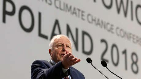 El naturalista David Attenborough durante la apertura de la Conferencia de la ONU sobre el Cambio Climático, COP24, en Katowice (Polonia), 3 de diciembre de 2018.
