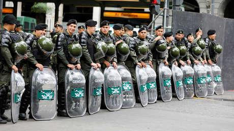 Gendarmería Nacional bloqueando una calle en Buenos Aires. 29 de noviembre de 2018