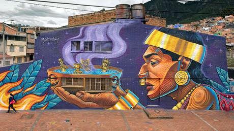 Mural del ecuatoriano Apitatán, realizado en Bogotá, Colombia, 2017.