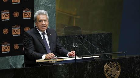 Moreno ante la Asamblea General de la ONU, septiembre de 2018.