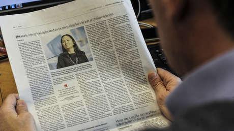 Un artículo sobre Meng Wanzhou, la gerente financiera de Huawei, en el diario The Globe and Mail en Montreal, Canadá, el 6 de diciembre de 2018.