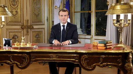 El presidente de Francia, Emmanuel Macron, ofrece un discurso a su nación, 10 de diciembre de 2018.