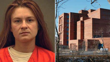 María Bútina y la prisión de Virginia (EE.UU.) donde permanece detenida.