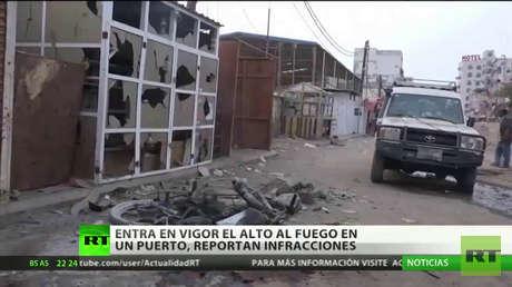 Reportan infracciones tras entrar en vigor el alto al fuego en un puerto de Yemen