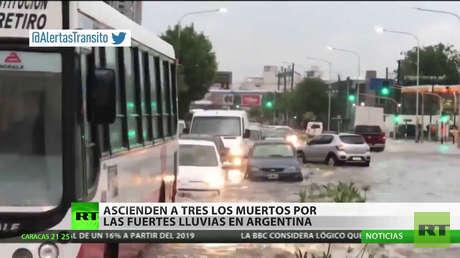 Asciende a tres el número de muertos por las fuertes lluvias en Argentina