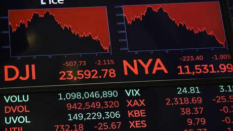 Una pantalla de la Bolsa de Nueva York muestra las cifras finales del lunes pasado.