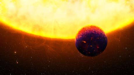 Ilustración del 55 Cangri e, uno de los exoplanetas ricos en zafiros y rubíes.