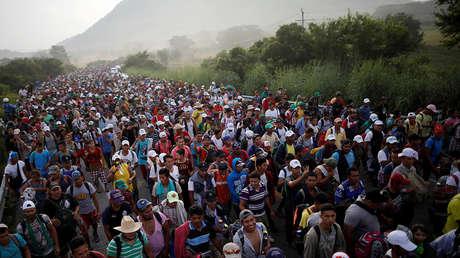 Una caravana de miles de migrantes de América Central, en ruta a los Estados Unidos, en una foto del 27 de octubre de 2018.