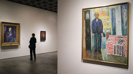 Cuadros de Edvard Munch en una exposición en Nueva York, el 13 de noviembre de 2017.