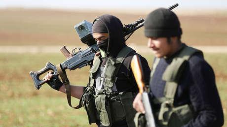 Combatientes kurdos al norte de Alepo, Siria, el 1 de febrero de 2018.