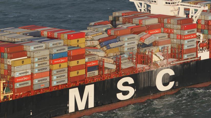 Identifican sustancia tóxica de uno de los contenedores que perdió un barco en el mar del Norte