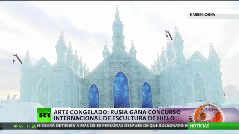 Arte congelado: Rusia gana el concurso internacional de esculturas de hielo en China