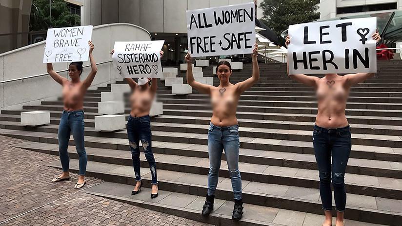 VIDEO: Hacen 'topless' para que Australia acoja a la joven refugiada saudita que huyó de su familia
