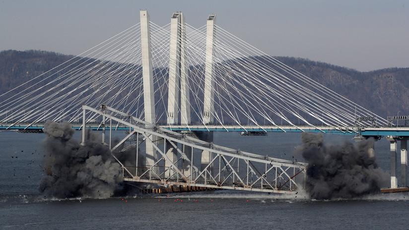 VIDEO: El momento de la demolición de una parte del puente Tappan Zee en Nueva York