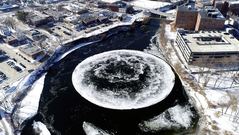 ¿Qué es el enorme disco de hielo que gira en un río de Maine? (FOTOS, VIDEOS)