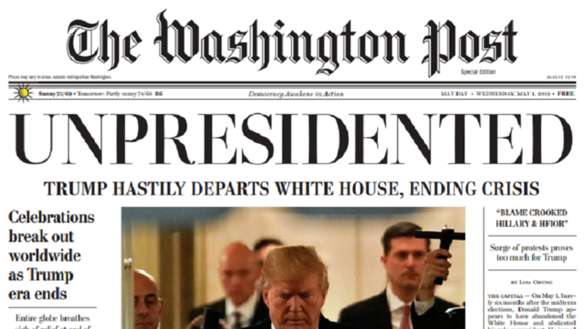 FOTOS: Distribuyen falsa edición de The Washington Post que anuncia la renuncia de Trump