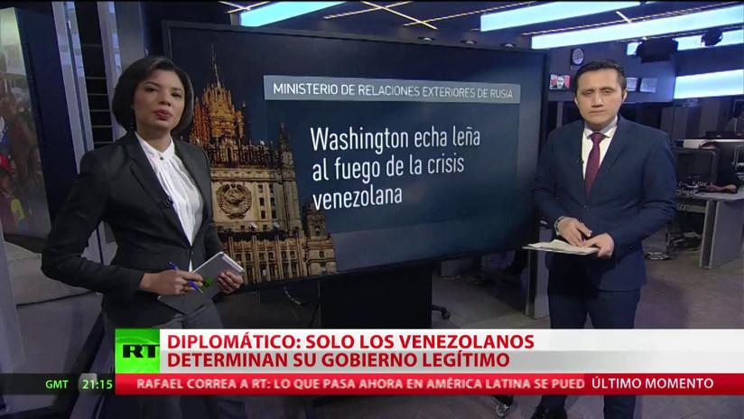 Rusia apoya al Gobierno legítimo de Maduro e insta al diálogo en Venezuela