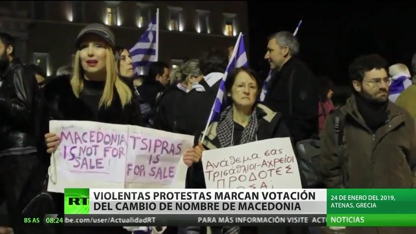 Violentas protestas marcan la votación del cambio de nombre de Macedonia