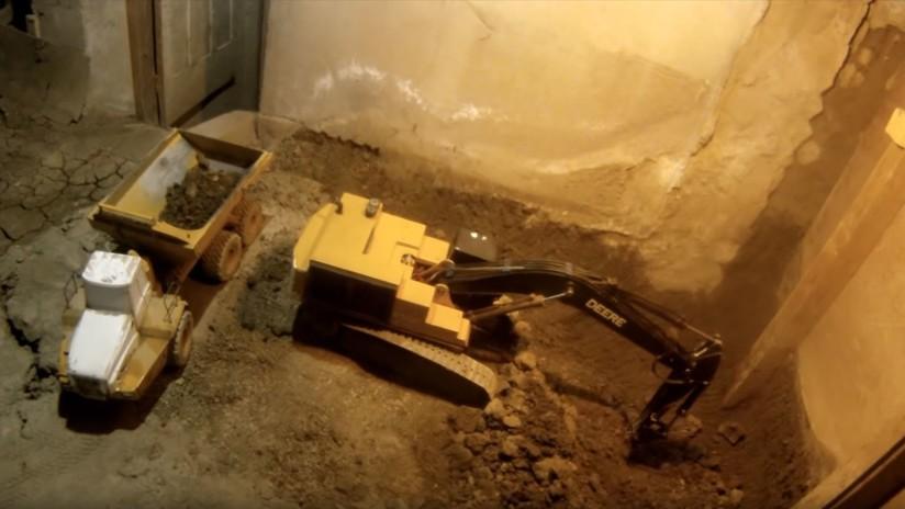 VIDEO: Cava un túnel por años en su sótano usando solo juguetes a control remoto