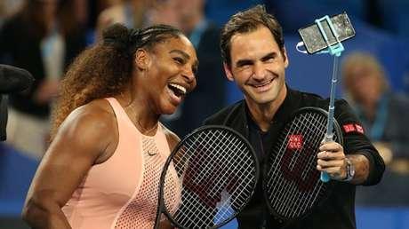 Serena Williams y Roger Federer en Perth, el 1 de enero de 2019