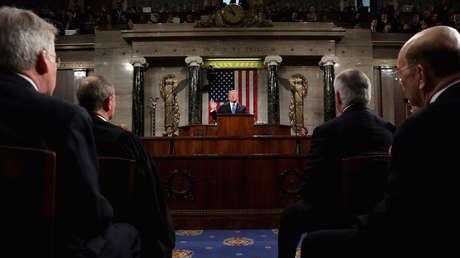 Trump en la Cámara de Representantes de EE.UU., en Washington, DC, 30 de enero de 2018.