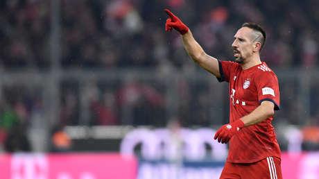 El futbolista del Bayern Múnich, Franck Ribéry, durante un partido contra RB Leipzig en Múnich, Alemania, el 19 de diciembre de 2018