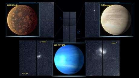 Los exoplanetas LHS 3844b, Pi Mensae c y HD 21749b