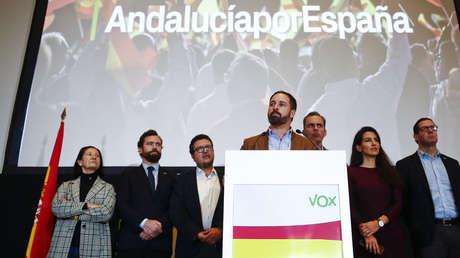 El líder de Vox, Santiago Abascal, tras la celebración de los comicios regionales, Sevilla, Andalucía, 3 de diciembre de 2018.