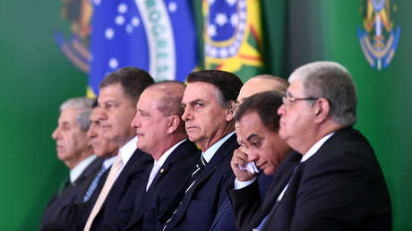 Brazilian President Jair Bolsonaro, with several members of his cabinet during the inauguration, Brazil, January 2, 2018.