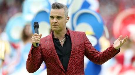 El cantante británico, Robbie Williams, en Moscú, Rusia, el 14 de junio de 2018