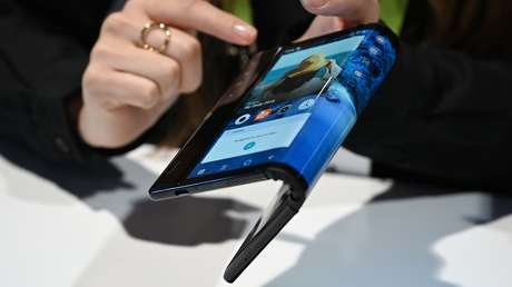 Royole FlexPai folding smartphone during the Consumer Electronics Show 2019 international technology fair, (Nevada, USA), January 8, 2019.