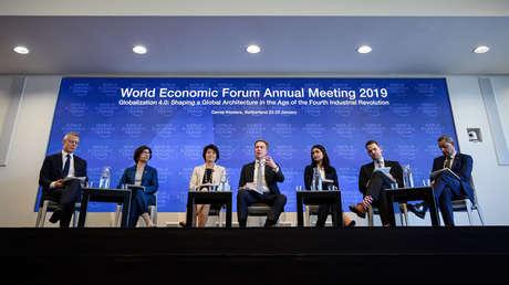 Representantes del Foro Económico Mundial, en Ginebra, 15 de enero de 2019.