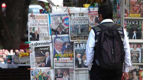 Kiosco de prensa en Ciudad de México tras la victoria de Andrés Manuel López Obrador, 2 de julio de 2018.