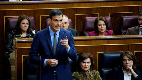 El presidente español Pedro Sánchez en el Parlamento en Madrid. 14 de noviembre de 2018.