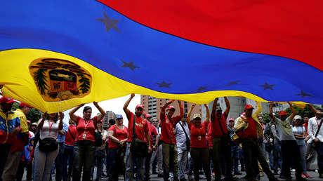 Manifestación progubernamental contra Donald Trump en Caracas, el 14 de agosto de 2017.