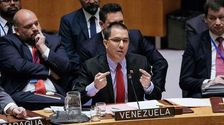 Canciller de Venezuela, Jorge Arreaza, en el Consejo de Seguridad de la ONU, 26 de enero de 2019.