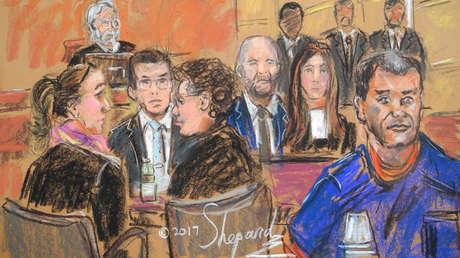 Representación del narcotraficante Joaquín 'El Chapo' Guzmán durante uno de sus juicios, Nueva York, EE.UU., 3 de febrero de 2017.