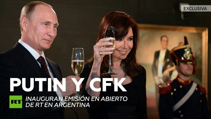 Vladímir Putin y Cristina Fernández de Kirchner inauguran emisión en abierto de RT en Argentina