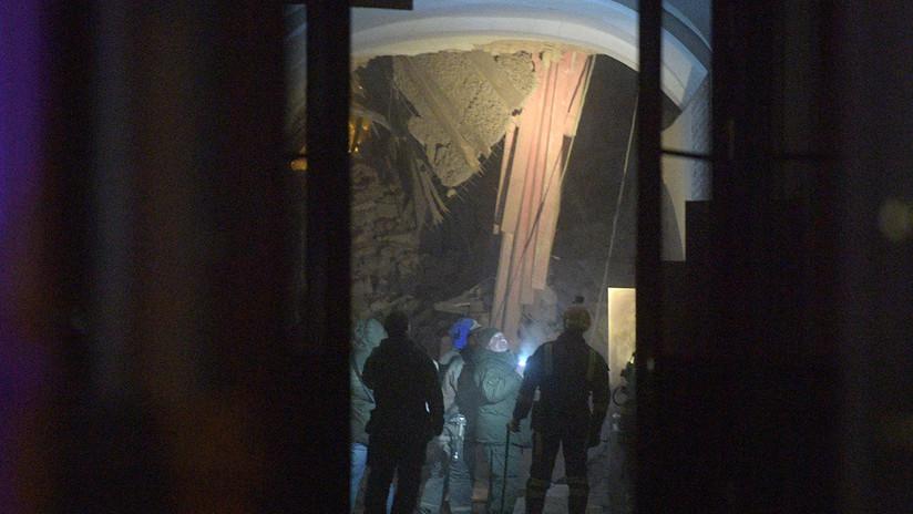 VIDEO: El momento en que se derrumba el techo de una universidad de San Petersburgo