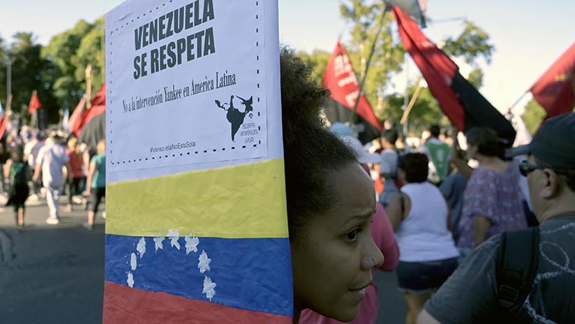 Marchan en Argentina en apoyo al presidente Maduro y en contra del intervencionismo de Trump