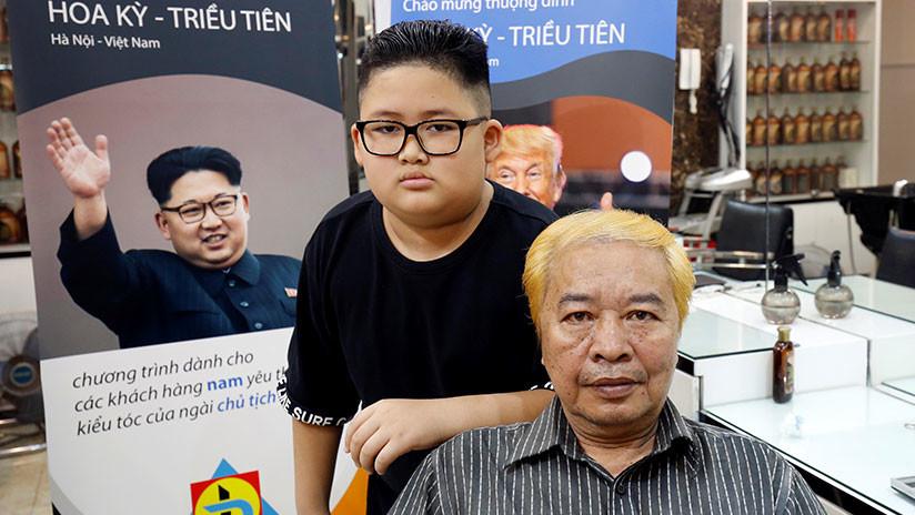 Los peinados de Trump y Kim Jong-un se ponen de moda en Vietnam (FOTOS)