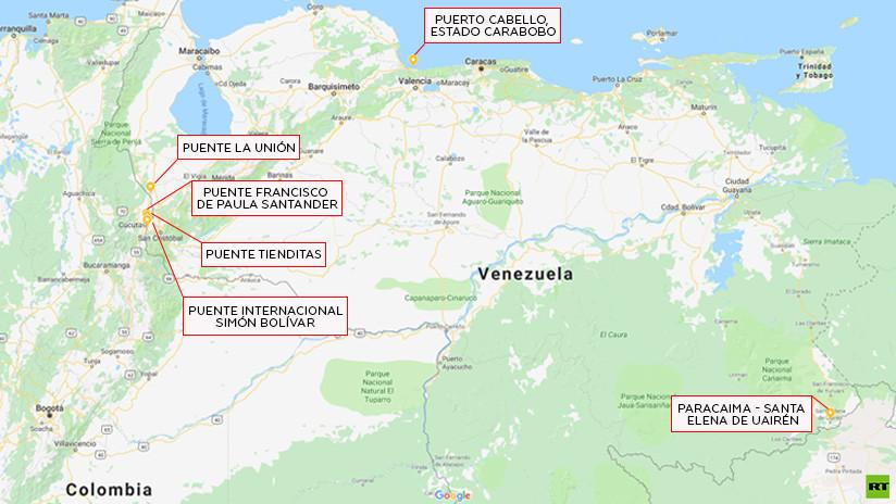 """¿Cuáles son los puntos de tensión en Venezuela por donde intenta ingresar la """"ayuda humanitaria""""?"""