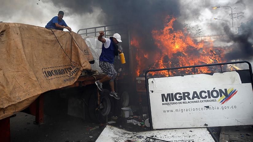 """¿Fue un """"falso positivo"""" la quema de un camión con """"ayuda humanitaria"""" en Colombia? (FOTOS/VIDEOS)"""