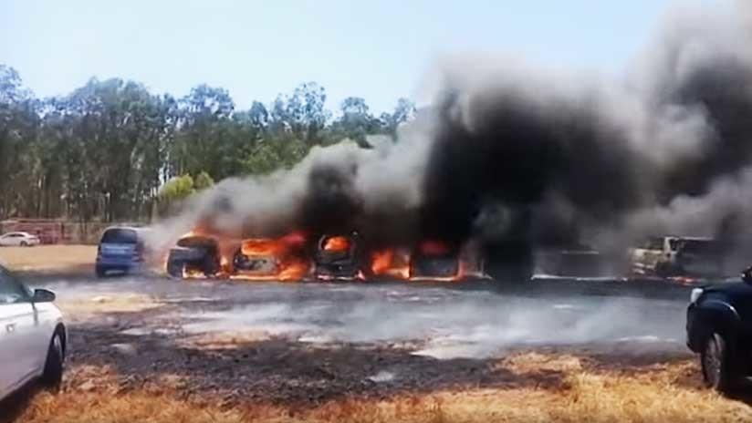 VIDEO, FOTOS: Más de 300 vehículos arden en la India durante una exposición militar