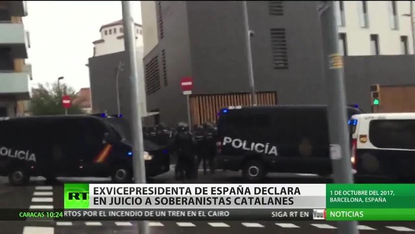 Ex vicepresidenta de España declara en el juicio a los líderes independentistas catalanes