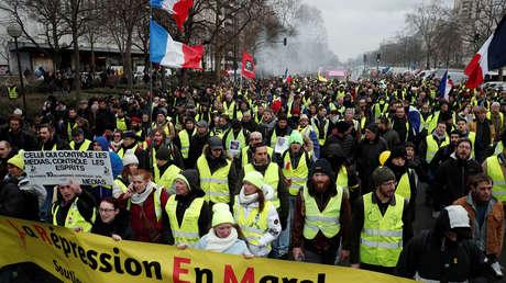 Protesta de los 'chalecos amarillos' en París (Francia), 26 de enero de 2019.