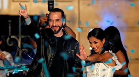 Nayib Bukele celebra su triunfo en las elecciones presidenciales de El Salvador, 3 de febrero de 2019