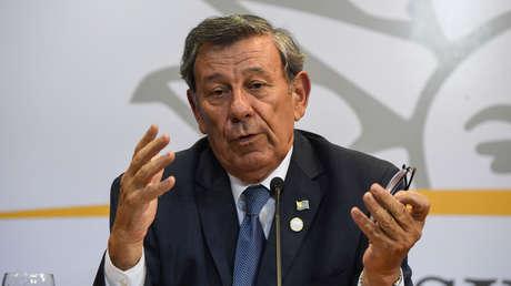 Canciller de Uruguay, Rodolfo Nin Novoa, en reunión sobre Venezuela en Montevideo, febrero de 2019.