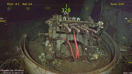 El cañon antiaéreo de diámetro de 1.1 pulgadas instalado en USS Hornet en su estado actual.